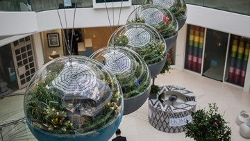 Gravity defying Perspex® Acrylic globes at London Design Week